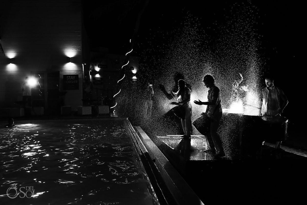 Water drummers wedding reception entertainment Grand Coral Beach Club Playa del Carmen