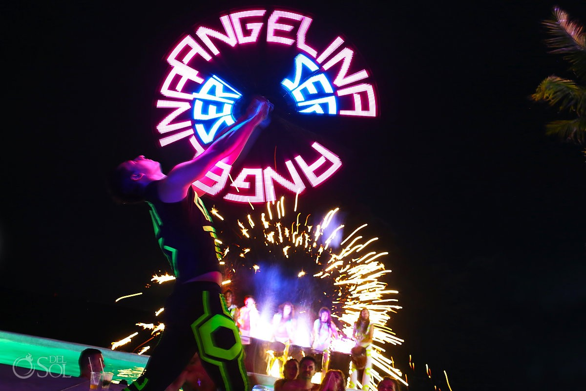 LED light dancers entertainment show Grand Coral Beach Club, Mexico