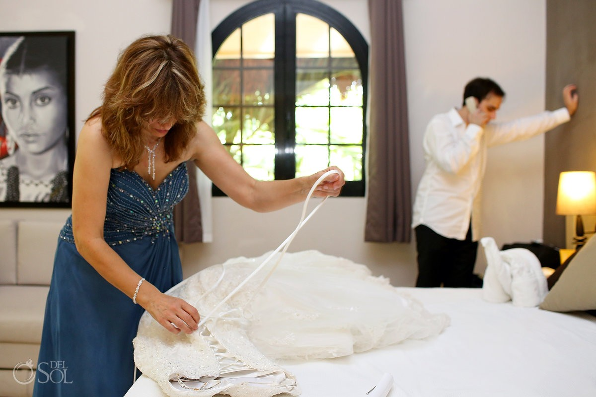 mother of the bride with wedding dress