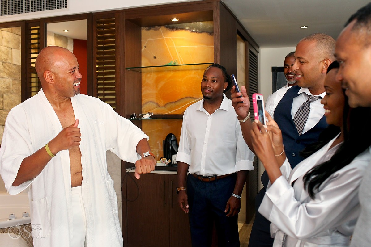 groomsmen getting ready for wedding at Hard Rock Hotel Riviera Maya