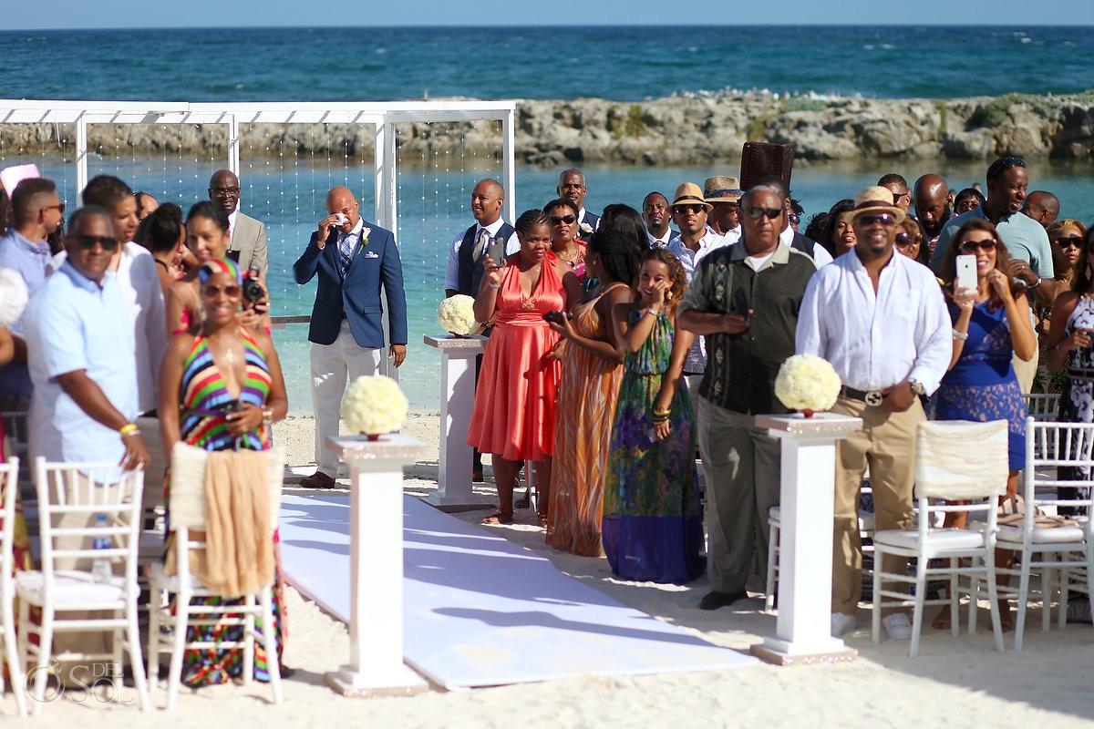 groom crying waiting for bride at Hard rock riviera Maya beach Wedding