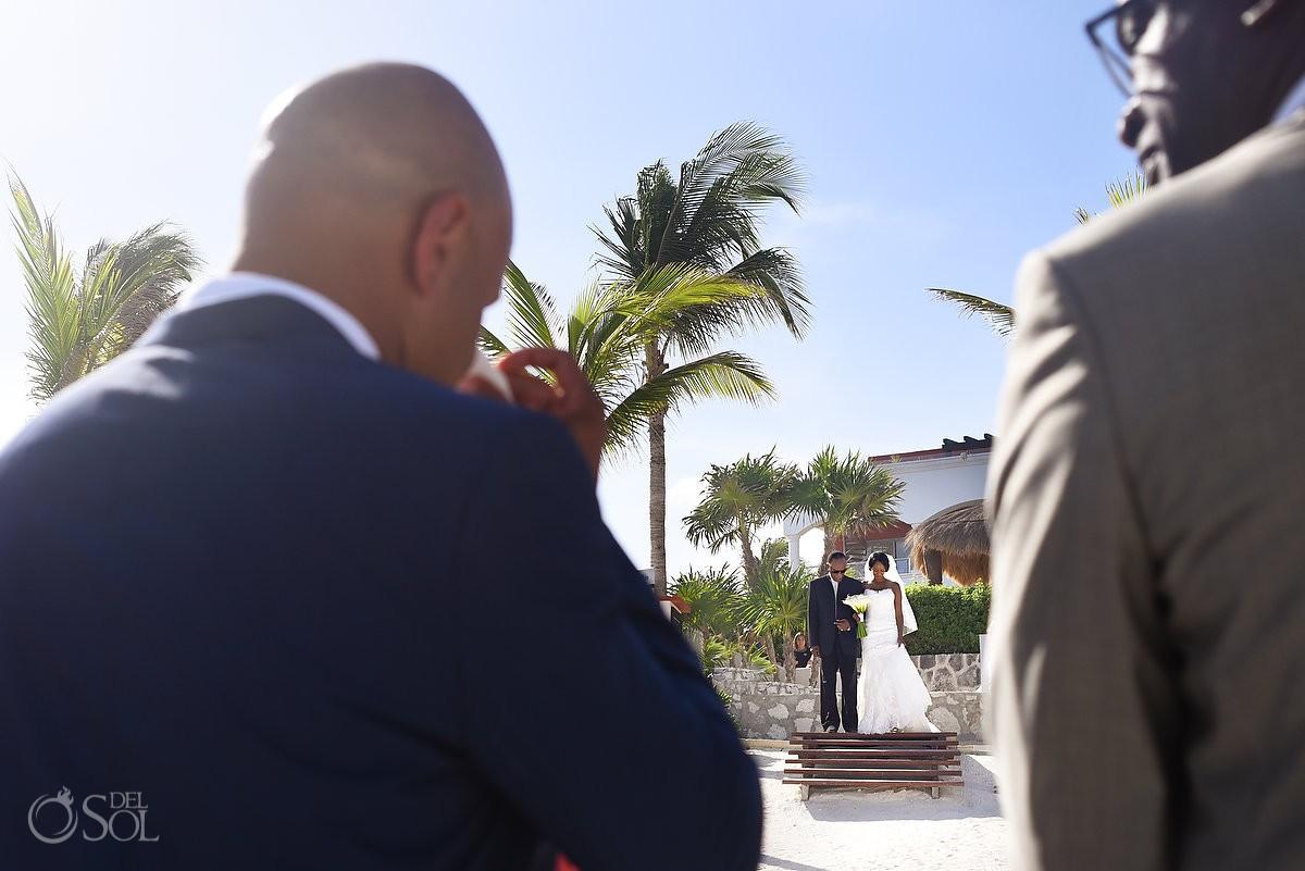 bride and father walk the isle at Hard Rock Hotel Riviera Maya