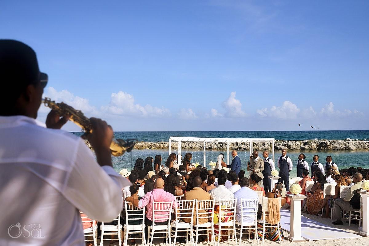 musician plays for wedding at Hard Rock Hotel Riviera Maya