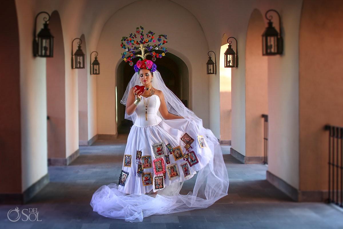Mexican Bride La Novia de Mexico arrch corridor Rosewood Hotel, San Miguel de Allende