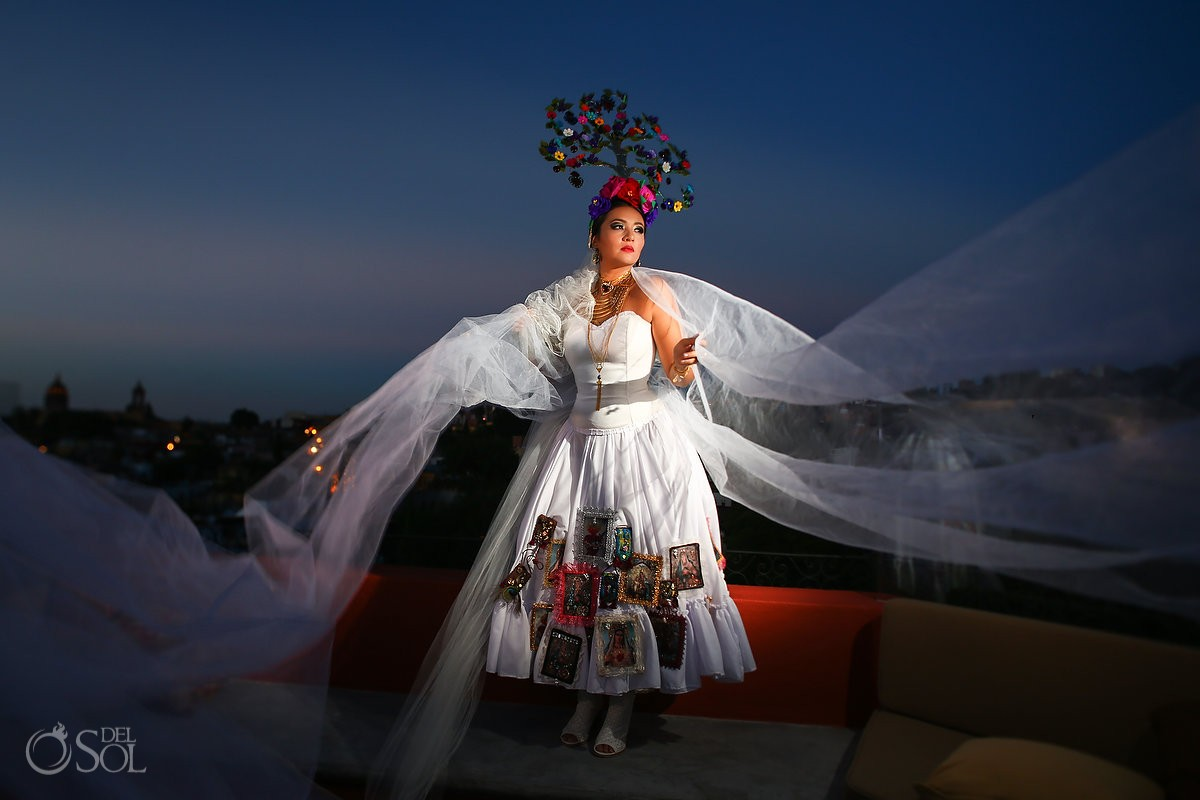 Mexican Bride La Novia de Mexico veil portrait sunset Rosewood Hotel, San Miguel de Allende
