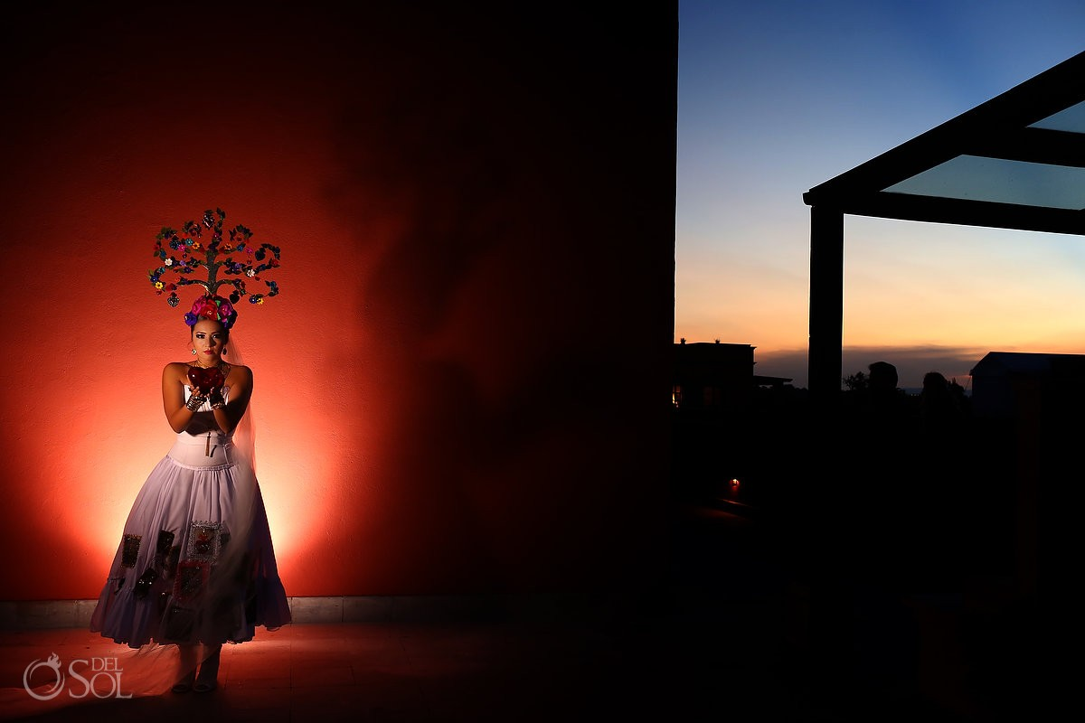 Mexican Bride La Novia de Mexico Tree of life headpiece sunset Rosewood Hotel, San Miguel de Allende