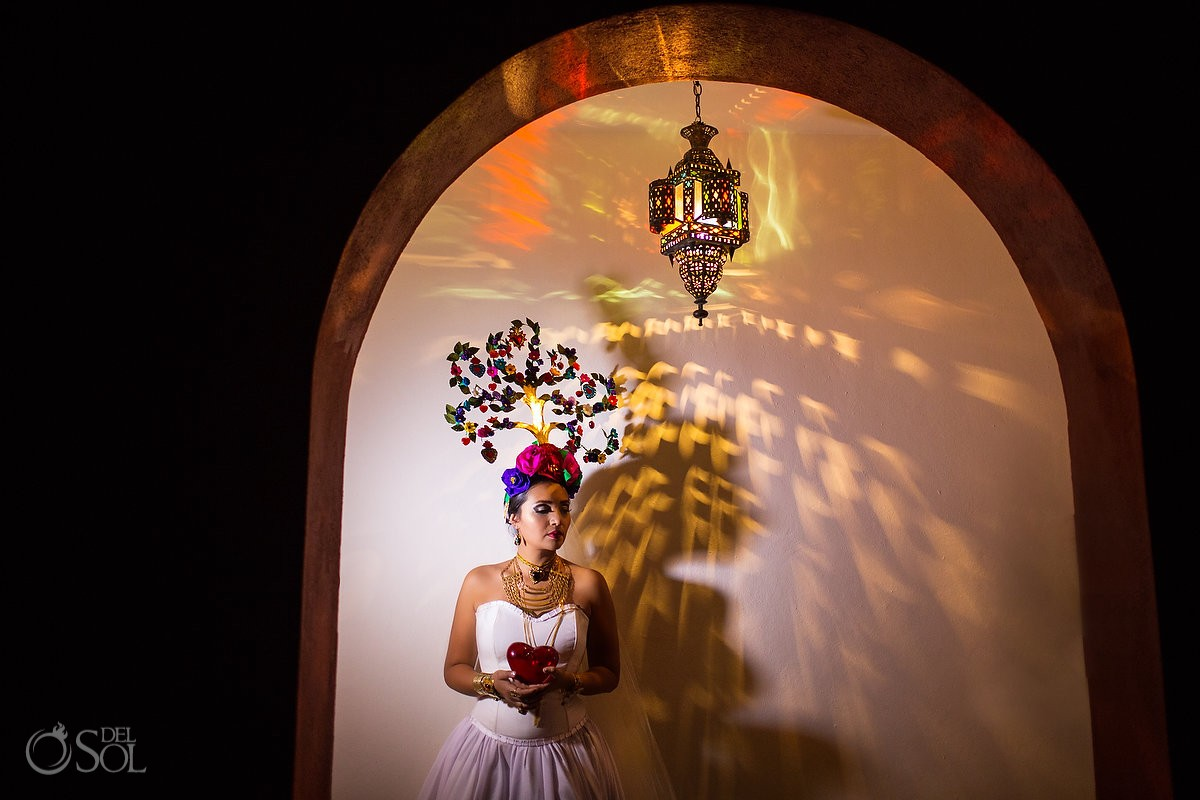 Mexican Bride La Novia de Mexico Tree of life headpiece portrait Rosewood Hotel, San Miguel de Allende