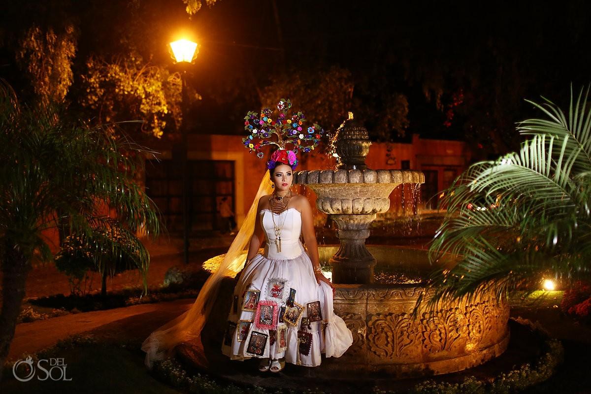 Mexican Bride La Novia de Mexico night portrait Rosewood Hotel, San Miguel de Allende