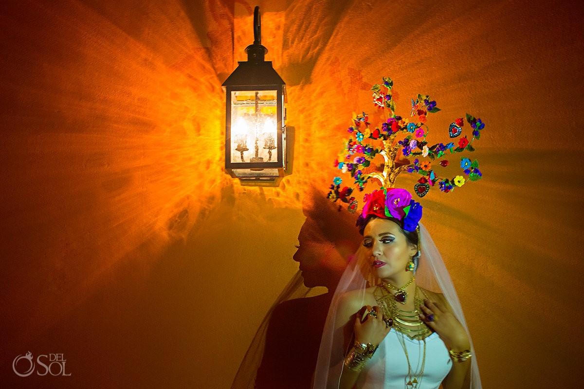Mexican Bride La Novia de Mexico Tree of life headpiece folkart Rosewood Hotel, San Miguel de Allende