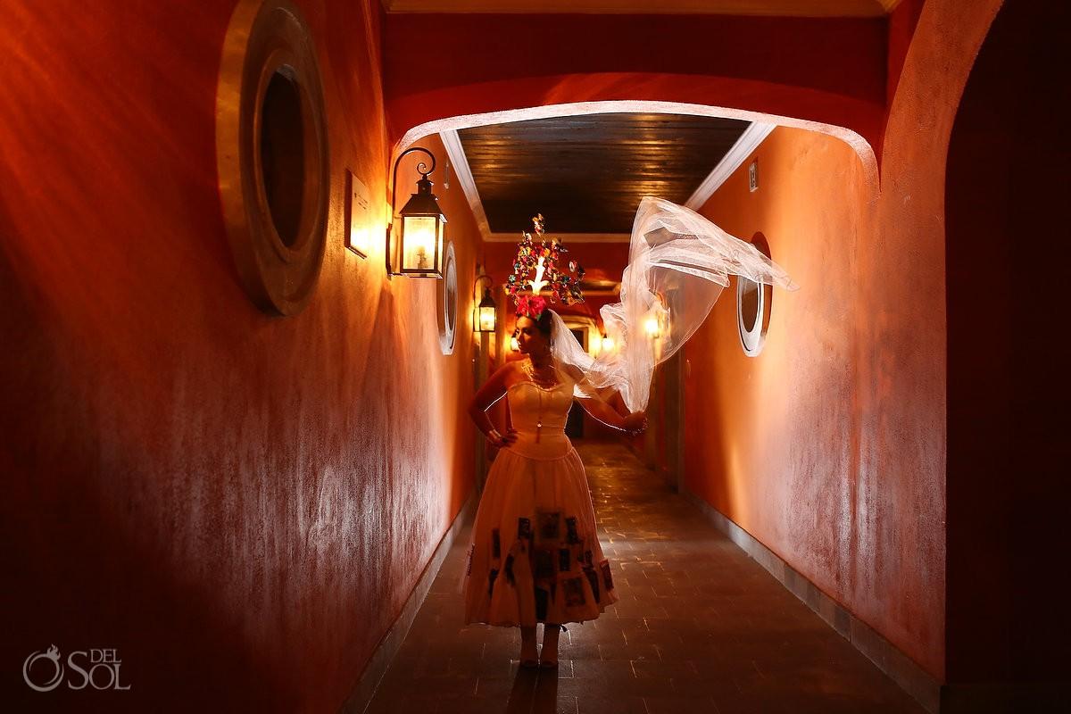 Mexican Bride La Novia de Mexico Tree of life headpiece portrait San Miguel de Allende