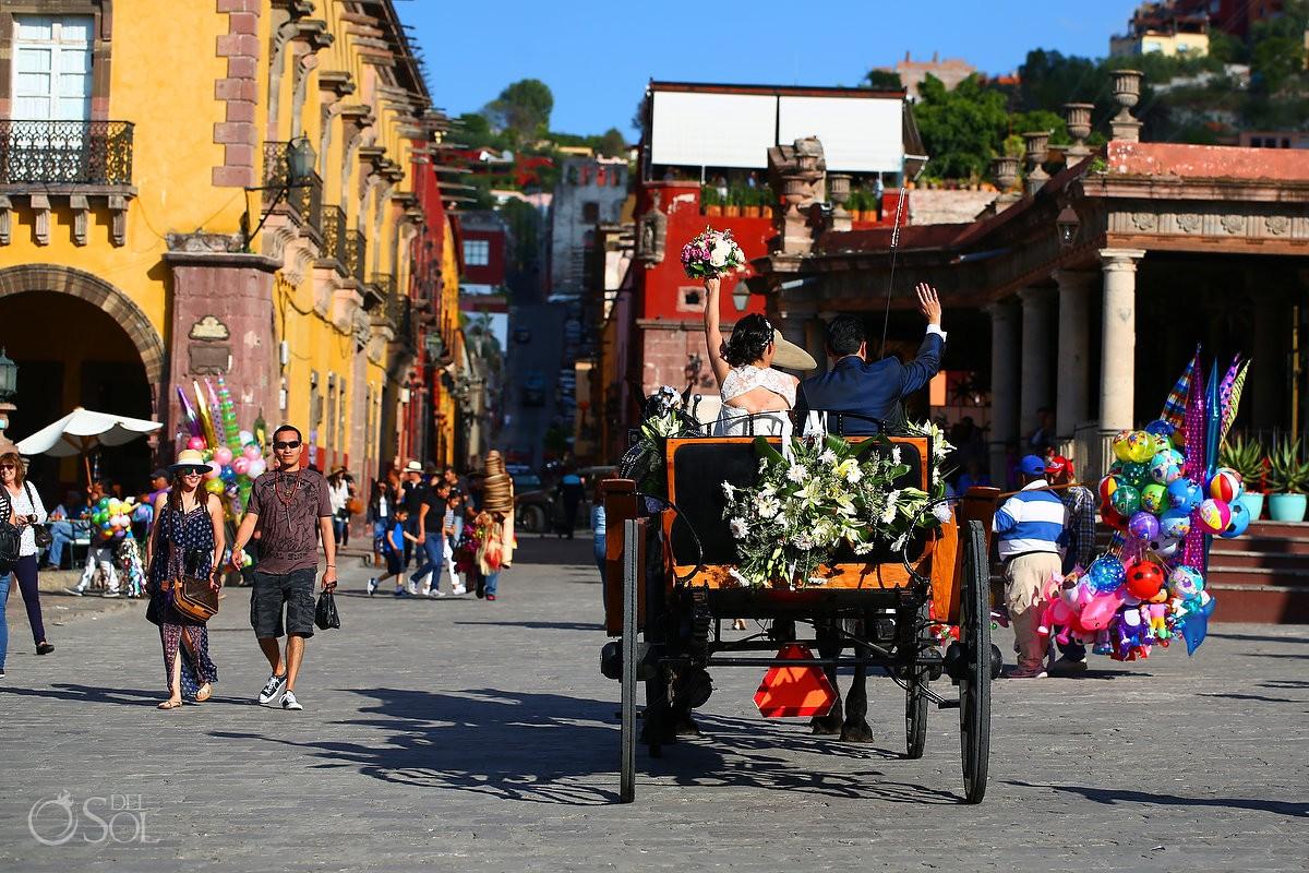 Bride and groom horse cart Mexican Bride La Novia de Mexico, San Miguel de Allende