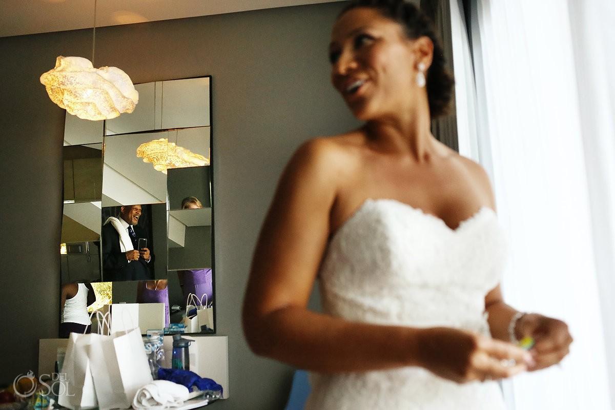 bride getting ready for Wedding at Paradisus, Playa del Carmen