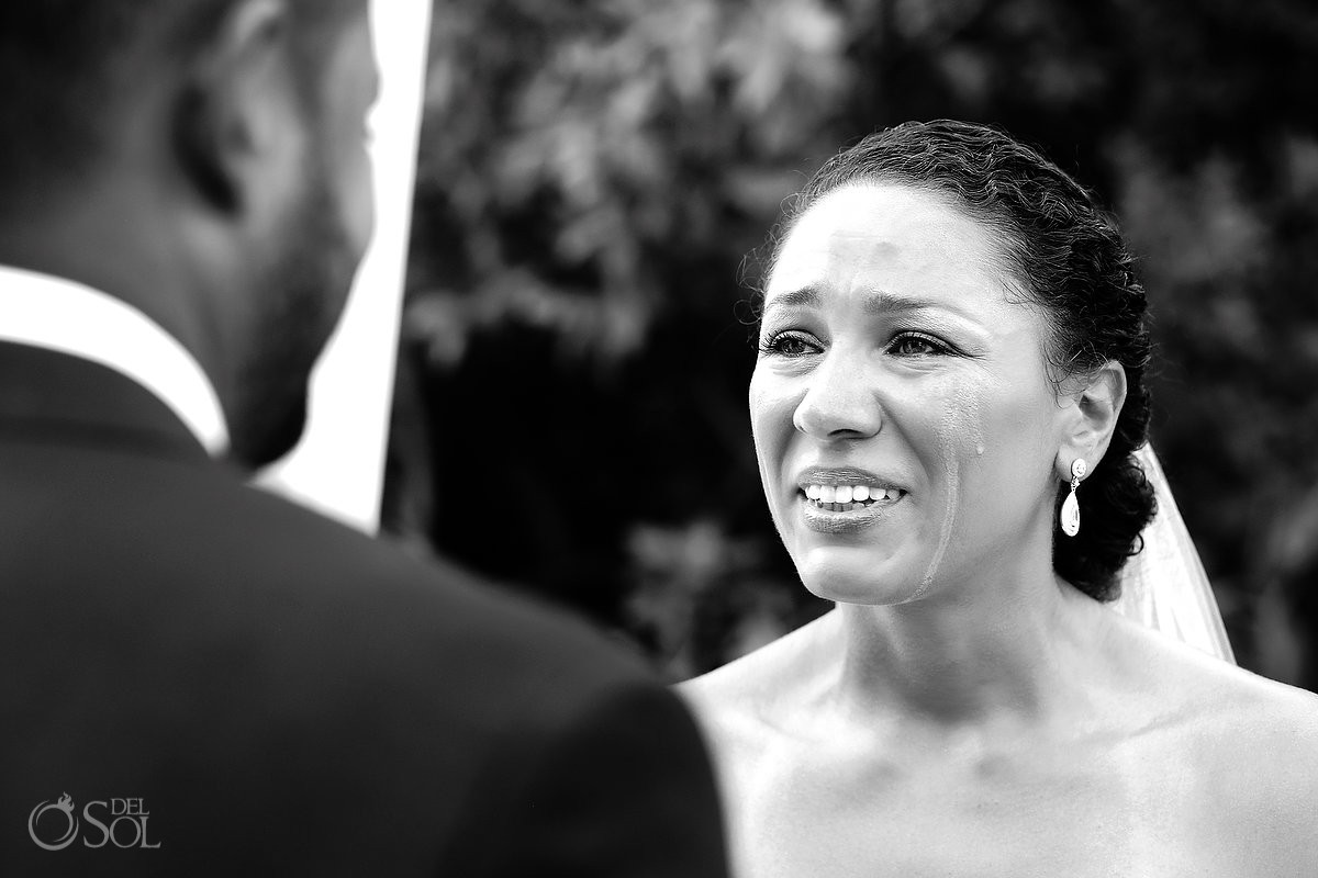 bride with tears in a Wedding at Paradisus, Playa del Carmen