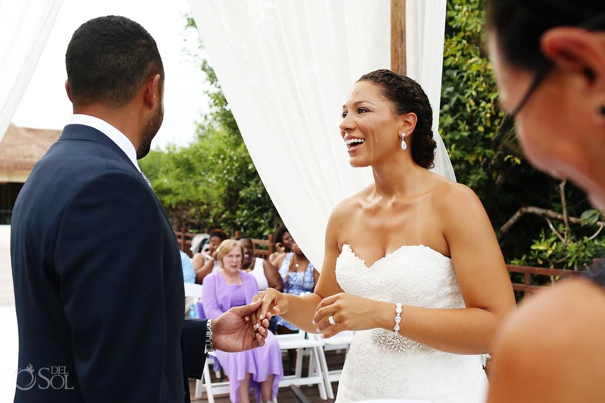 wedding ring exchange Wedding at Paradisus, Playa del Carmen