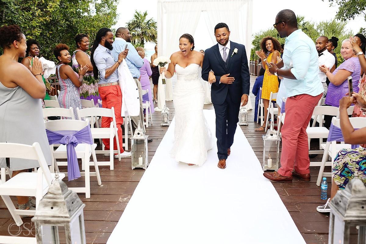 bride and groom recessional Wedding at Paradisus, Playa del Carmen