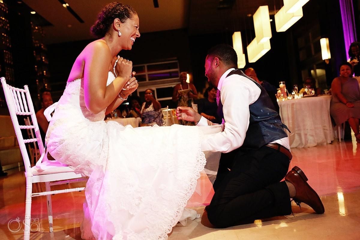garter belt ceremony at wedding reception Paradisus, Playa del Carmen