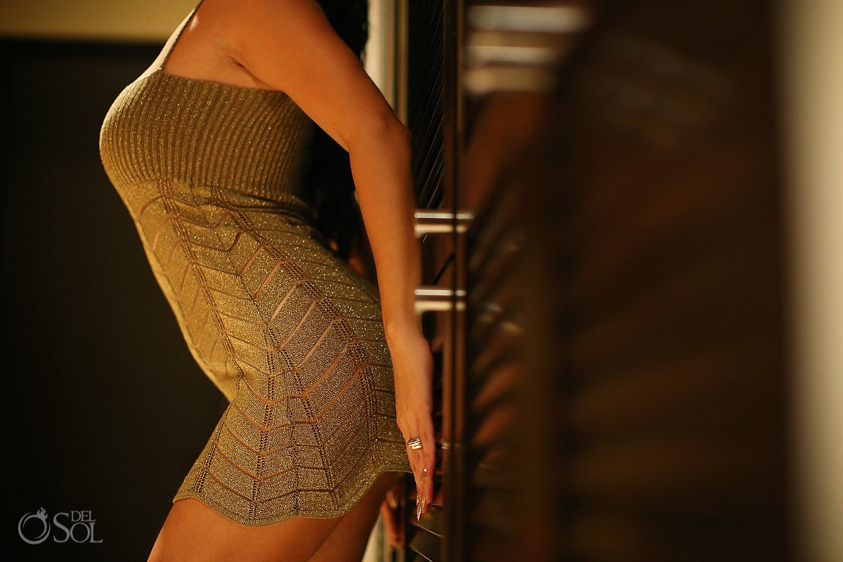 Boudoir Photography gold dress detail El Taj Playa del Carmen Mexico