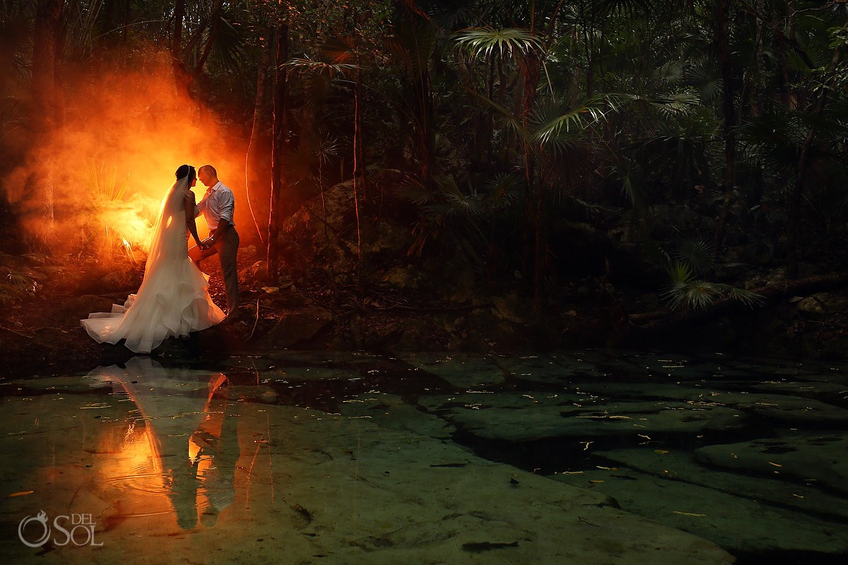 Wedding cenote portrait trash the dress, Riviera Maya, Mexico