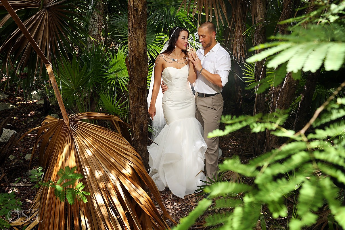 Wedding portrait cenote trash the dress, Riviera Maya, Mexico