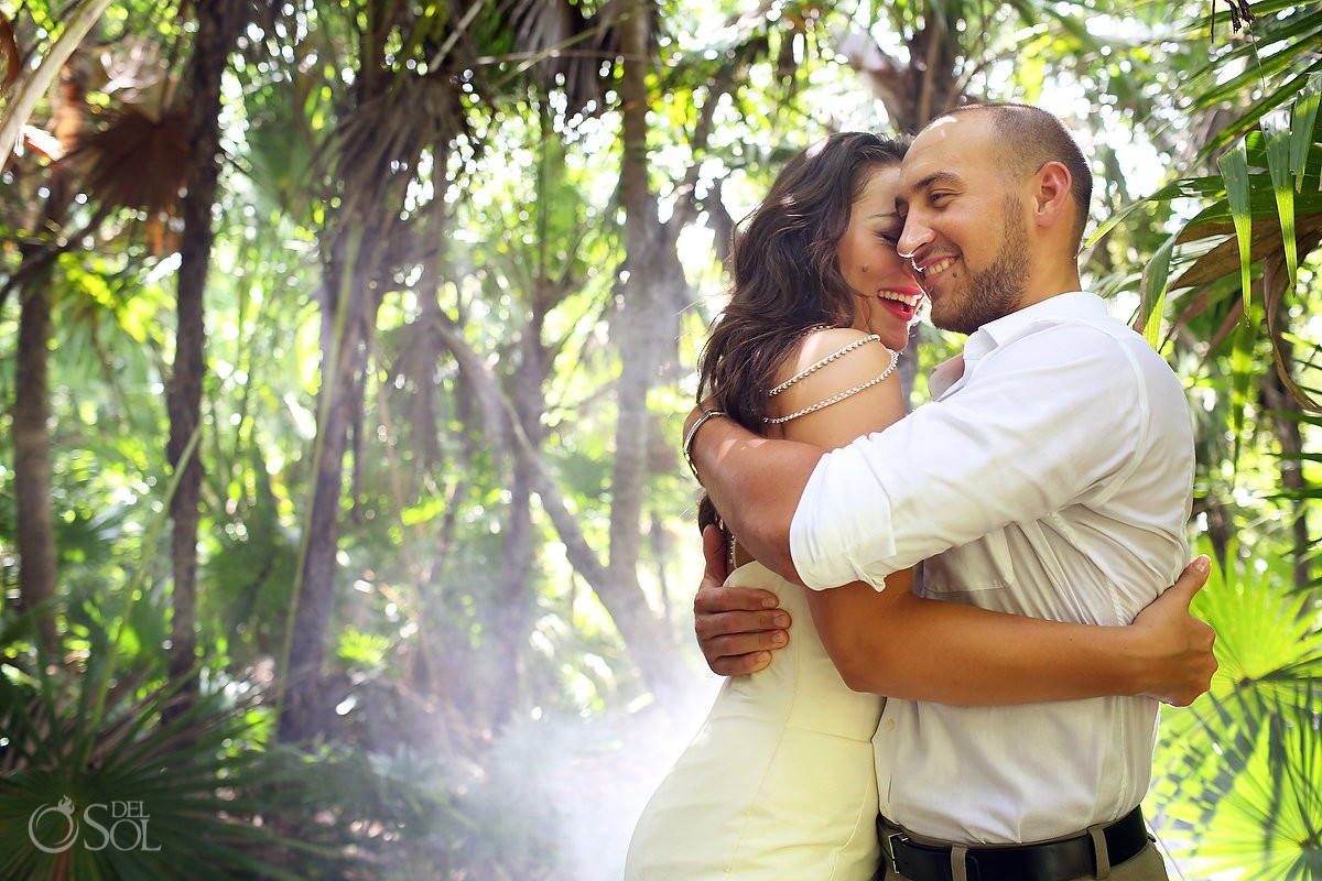 Jungle wedding portrait cenote trash the dress, Riviera Maya, Mexico