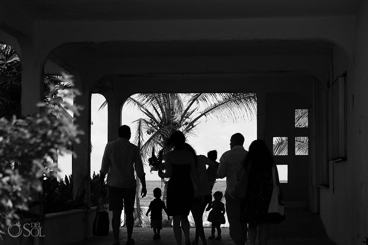 Black white family friends silouhette Playa Paraiso, Riviera Maya, Mexico.