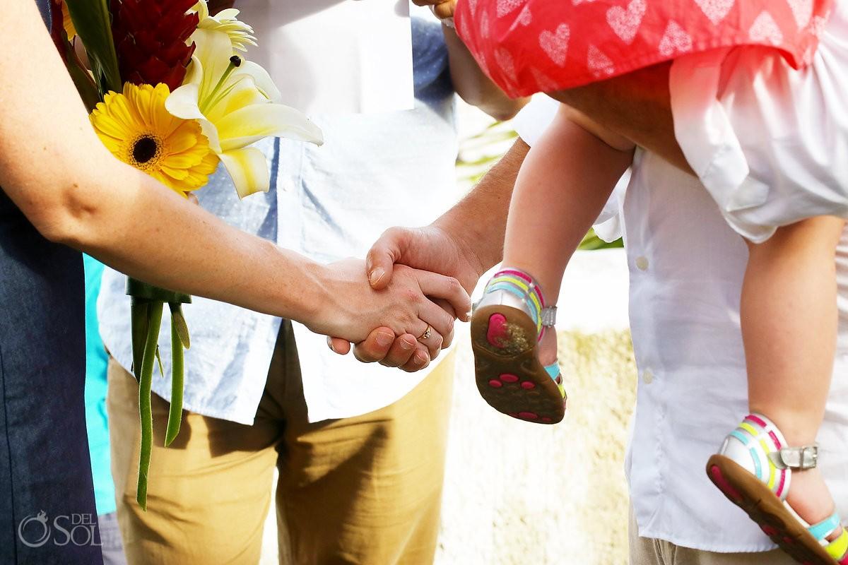 Vow Renewal hold hand shake detail, Playa Paraiso, Riviera Maya, Mexico.
