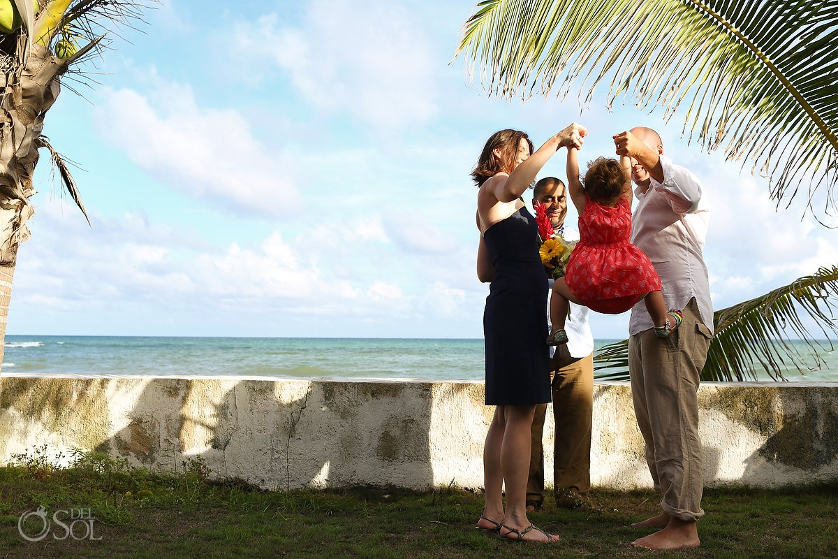 Garden Vow Renewal child lift swing, Carribean beach Playa Paraiso, Riviera Maya, Mexico.