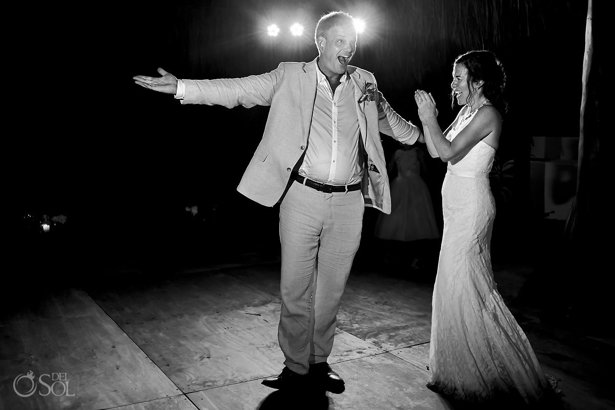 first dance during wedding reception at hotel esencia
