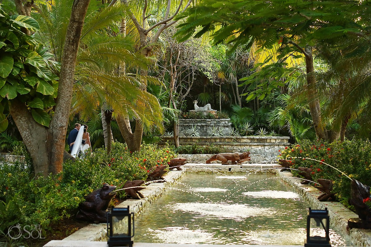 Garden pool water fountain wedding portrait Belmond Maroma Resort Spa Mexico