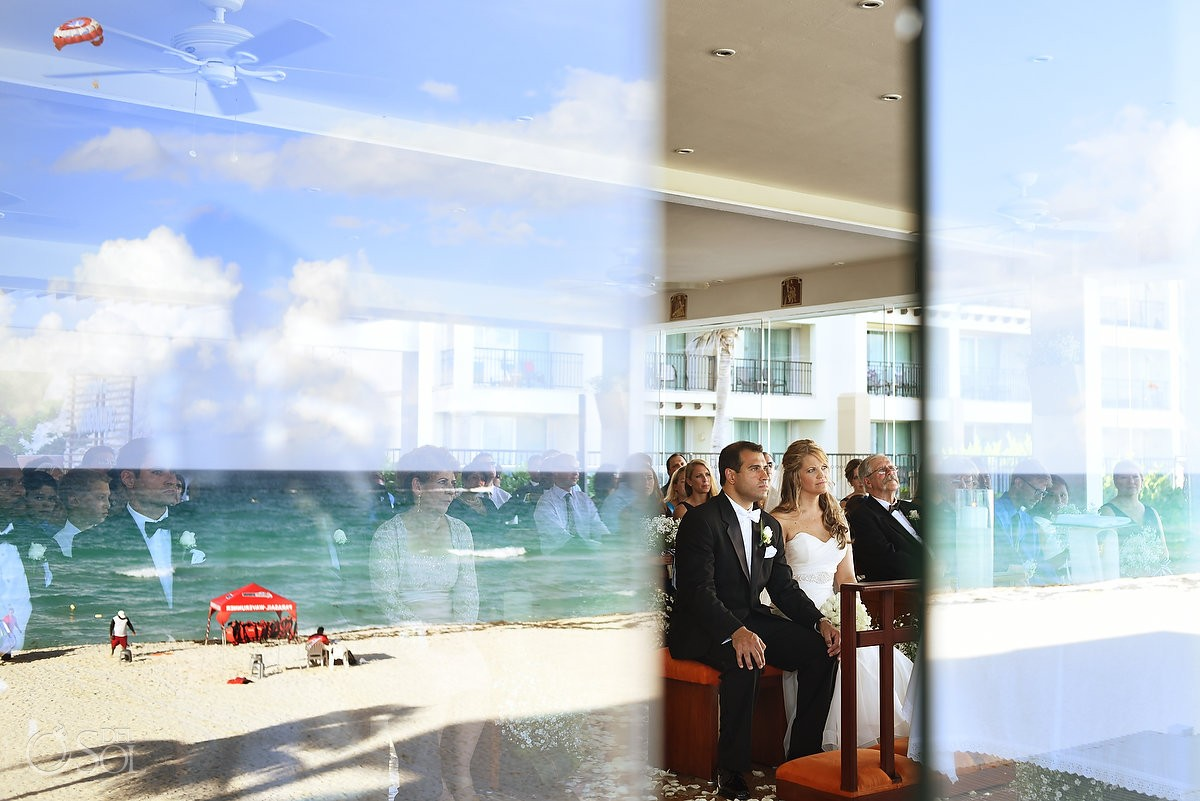 Beach chapel wedding reflection our lady Guadalupe Chapel Cancun