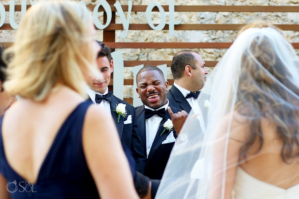 Groomsman funny face civil wedding ceremony our lady Guadalupe Chapel Cancun