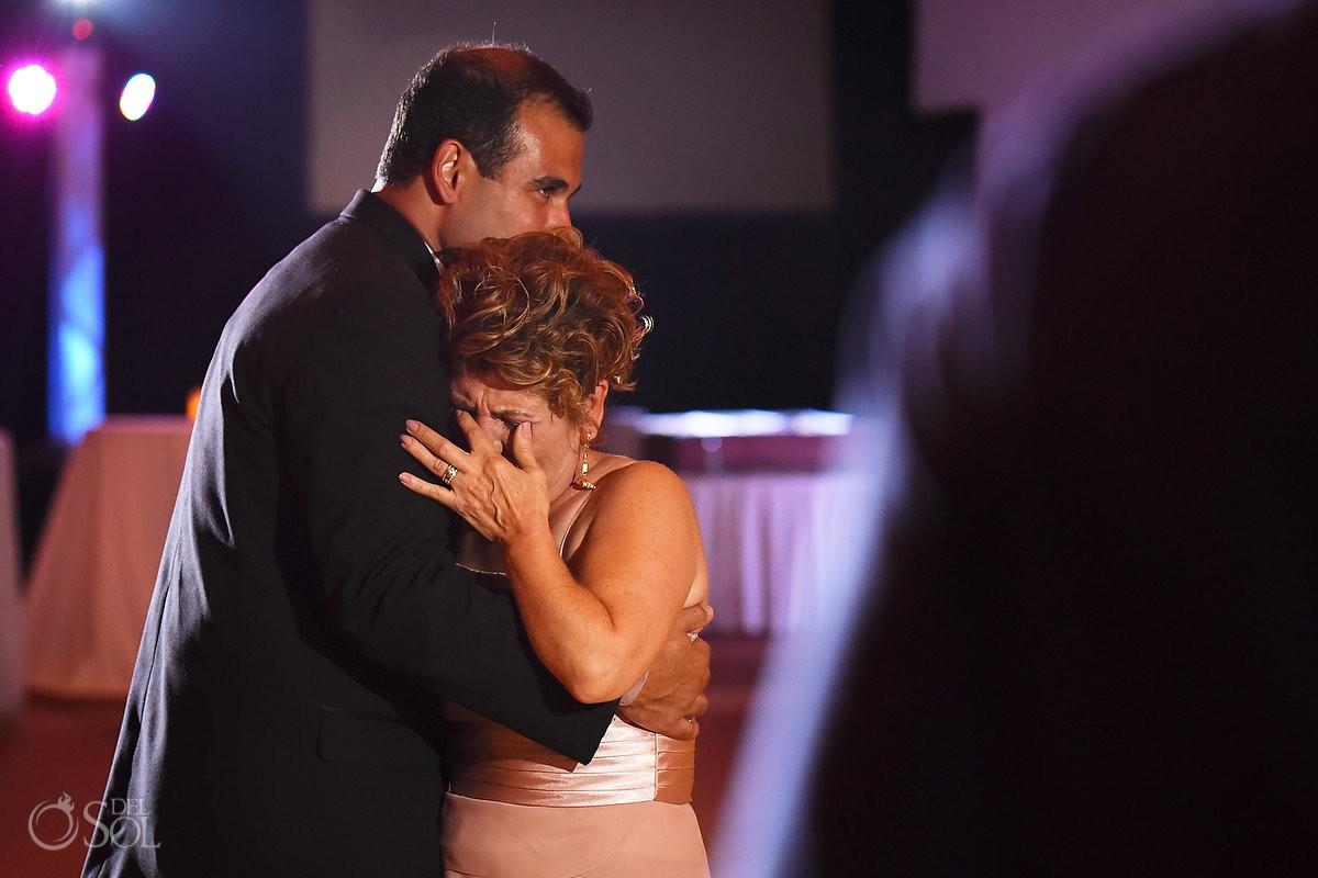 Groom mother son dance crying emotional wedding reception Gran Caribe Real Ballroom