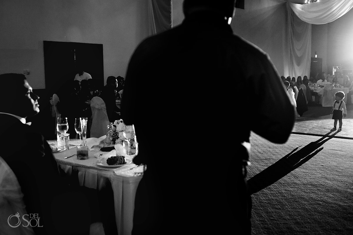 Cute kid shadow wedding reception ballroom Gran Caribe Real Cancun