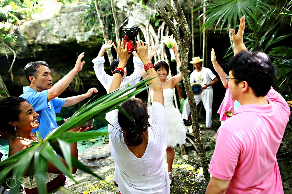 cenote mayan wedding photos