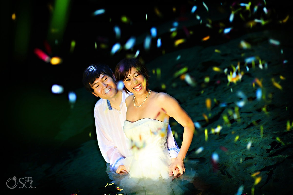 cenote mayan wedding trash the dress