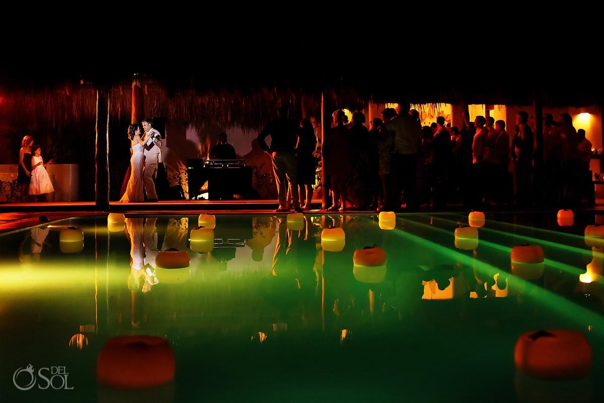 first dance at hotel esencia during wedding reception