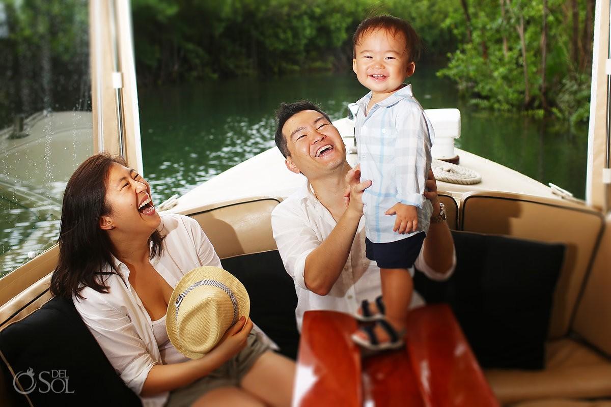 Family Portraits Rosewood Mayakoba boat waterway mangrove, Playa del Carmen, Mexico.