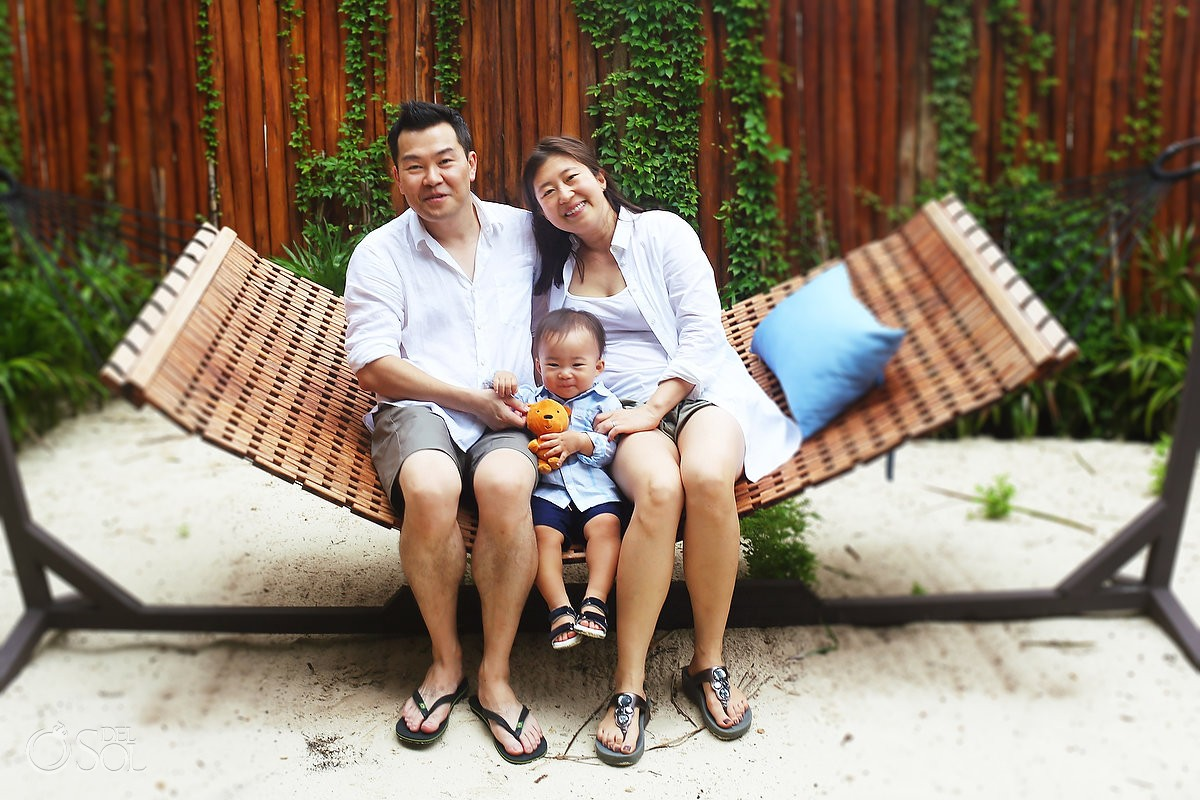 Family Portraits Rosewood Mayakoba hammock, Playa del Carmen, Mexico.