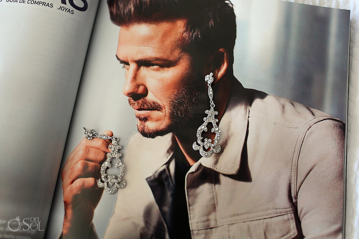 David Beckham earrings creative wedding jewelery detail