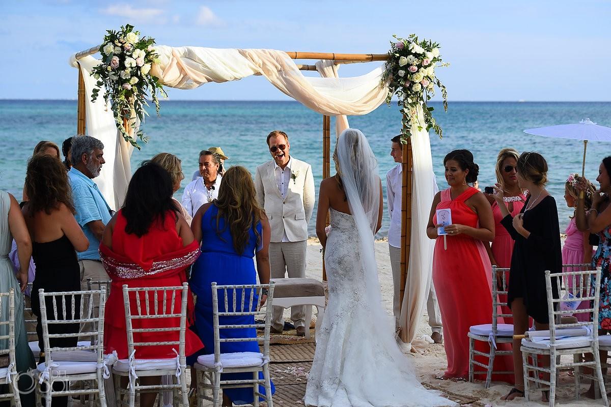 Bride entrance first look mayan Wedding Grand Coral Beach Club, Playa del Carmen, Mexico.