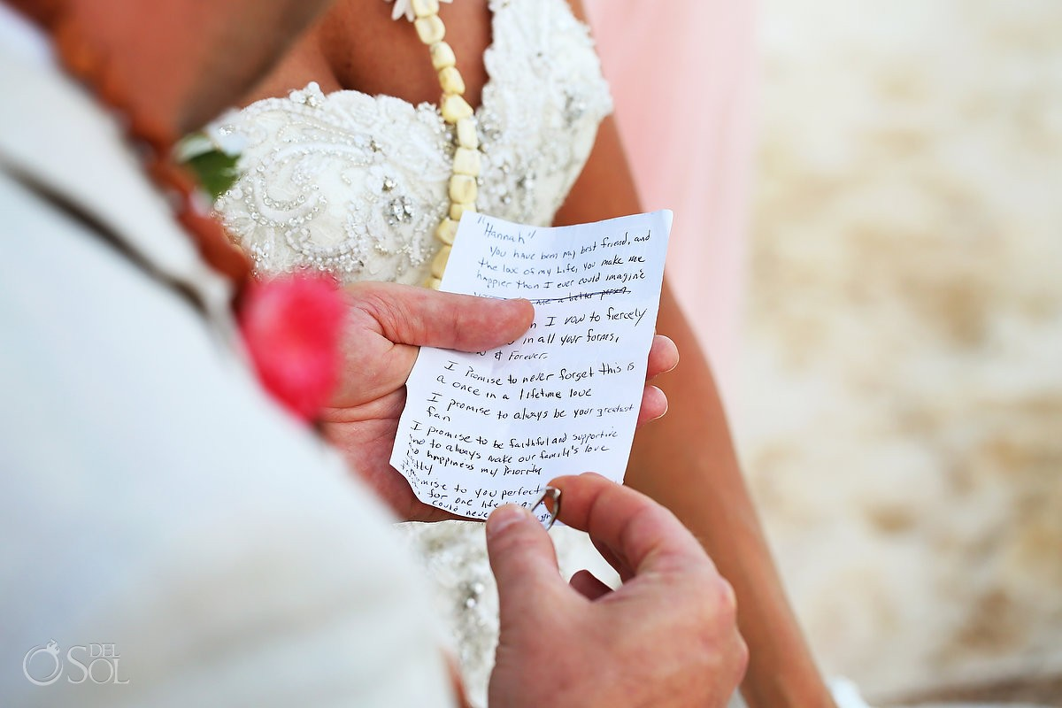 Groom handwritten vows mayan Wedding at Grand Coral Beach Club, Playa del Carmen, Mexico.