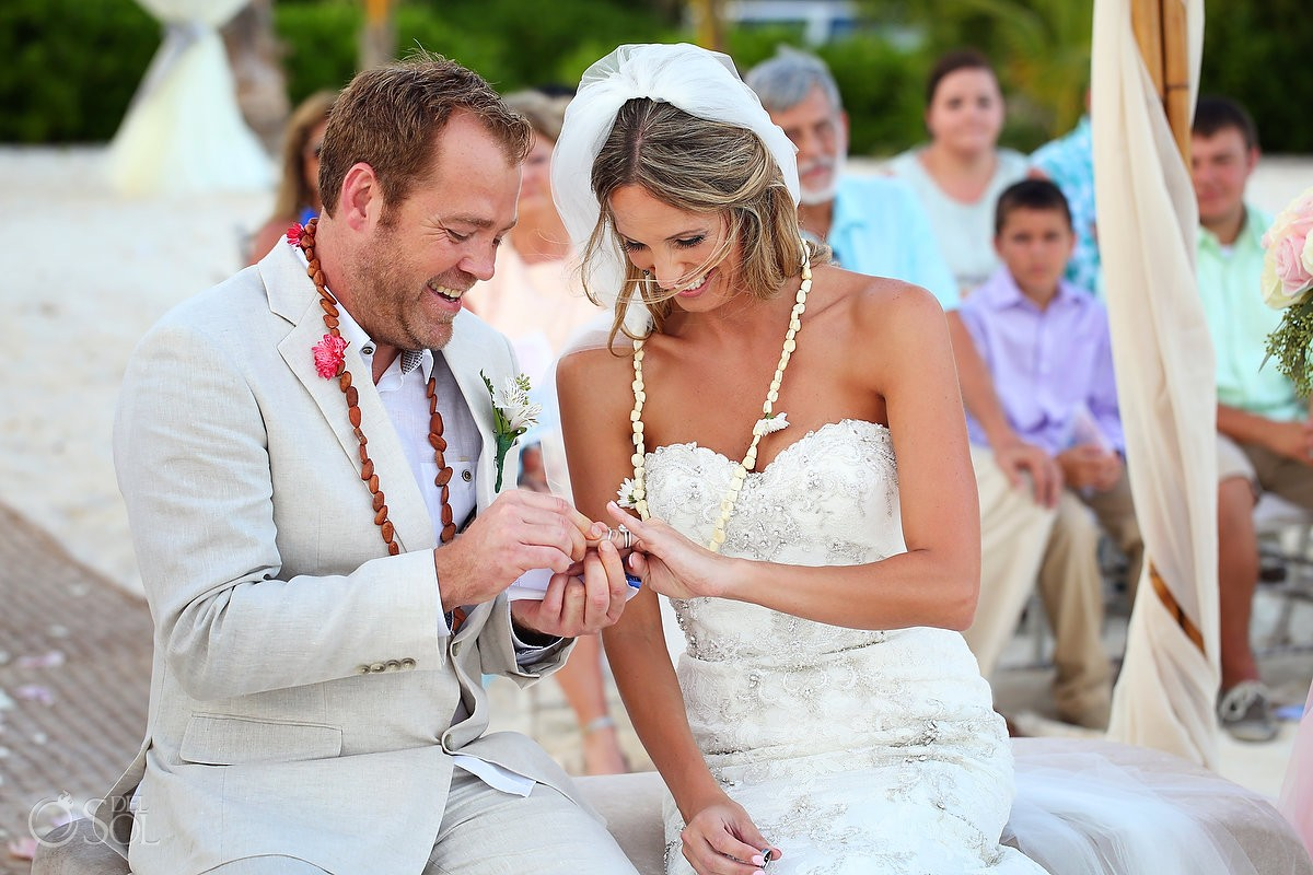 Ring Exchange mayan Wedding at Grand Coral Beach Club, Playa del Carmen, Mexico.
