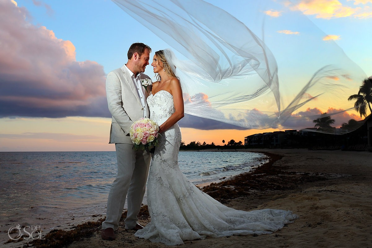 Bride groom sunset beach Wedding portraits Grand Coral Beach Club, Playa del Carmen, Mexico.