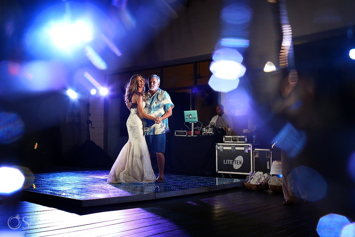 Father daughter dance Wedding reception Grand Coral Beach Club, Playa del Carmen, Mexico.