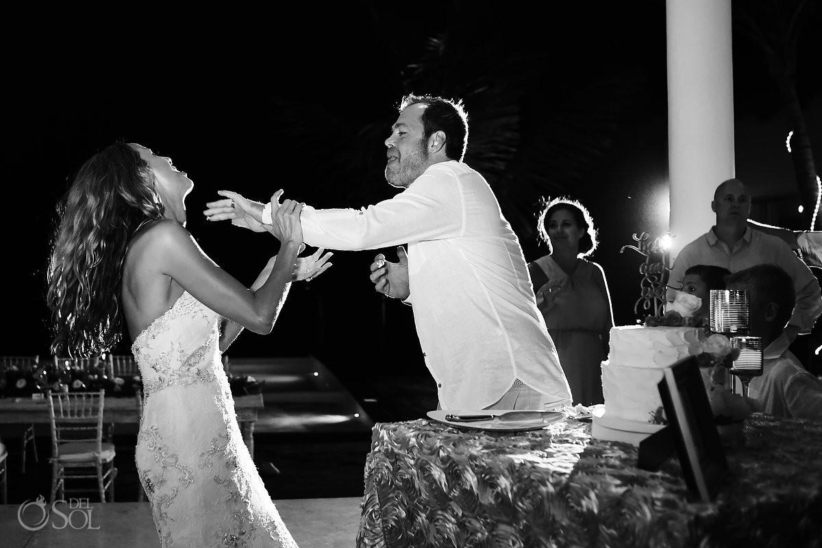 Wedding cake smash reception Grand Coral Beach Club, Playa del Carmen, Mexico.