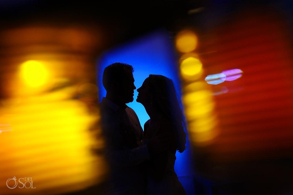 Couple wedding reception silhouette portrait Grand Coral Beach Club, Playa del Carmen, Mexico.