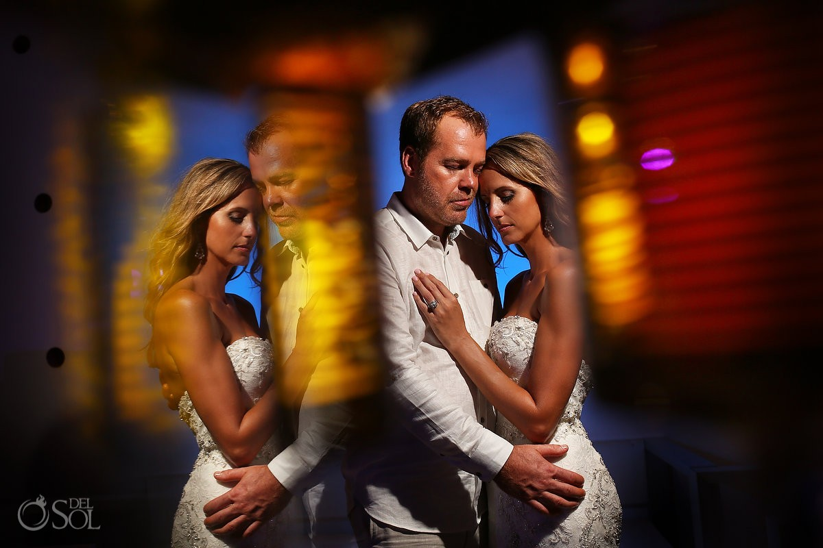 Wedding reception creative night portrait bride groom Grand Coral Beach Club, Playa del Carmen, Mexico.