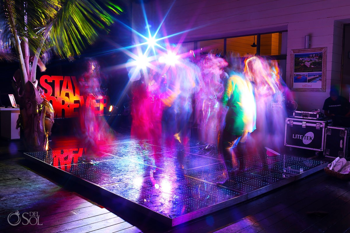 Wedding reception clit LED dance floor Grand Coral Beach Club, Playa del Carmen, Mexico.