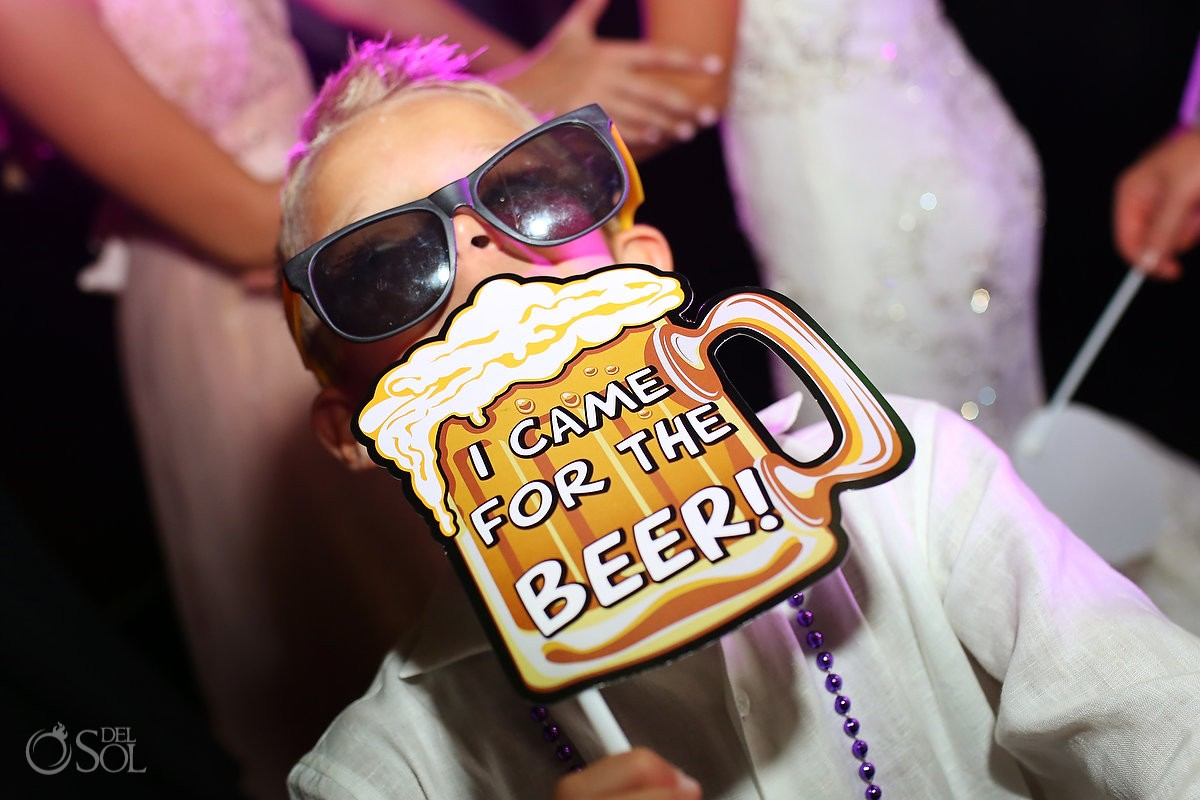 Wedding reception fun photo booth sign Grand Coral Beach Club, Playa del Carmen, Mexico.