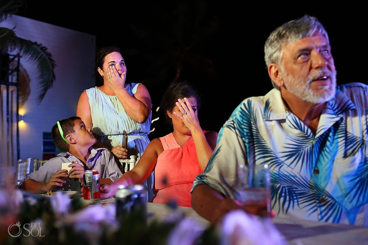 Wedding reception emotional speech crying Grand Coral Beach Club, Playa del Carmen, Mexico.